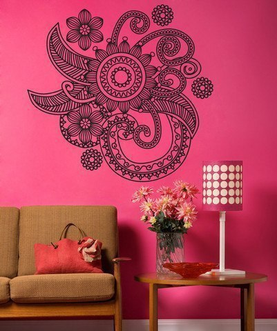 Роспись стен в стиле мехенди в спальни