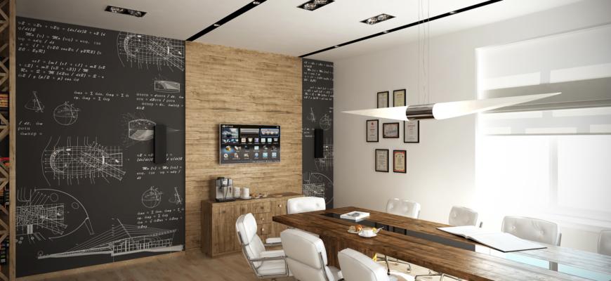 Черная грифельная стена в переговорной комнате.