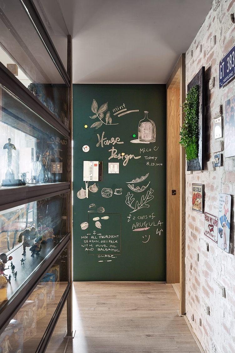 Зеленная грифельная стена на кухне