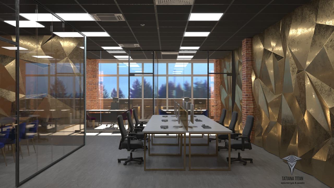 Проект офиса с 3-D панелью