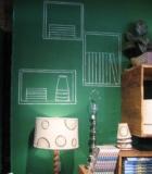 Зеленная школьная доска в интерьере